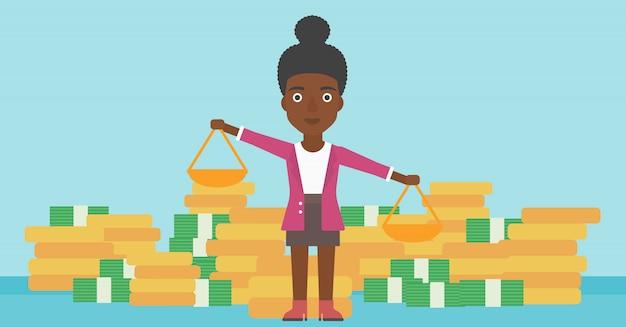 Geschäftsfrau mit skalavektorillustration.