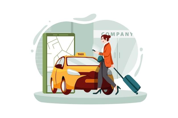 Geschäftsfrau mit smartphone, das taxi auf app bestellt