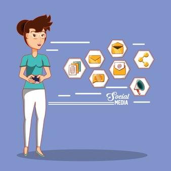 Geschäftsfrau mit social media icons