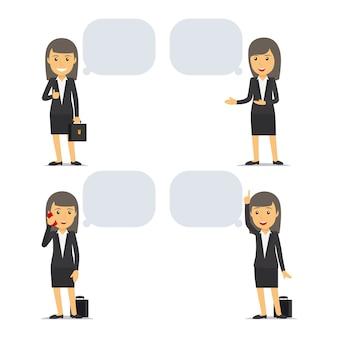Geschäftsfrau mit sprechblasen