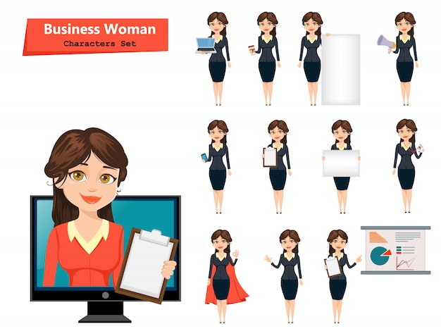 Geschäftsfrau mit verschiedenen dingen