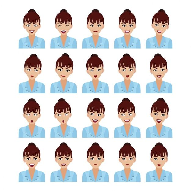 Geschäftsfrau mit verschiedenen gesichtsausdrücken stellte lokalisierte, schöne geschäftsfrau in der intelligenten klage der büroart in der zeichentrickfilm-figur-artillustration ein