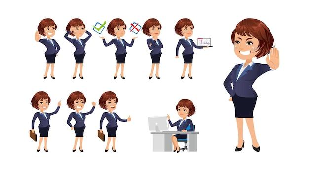 Geschäftsfrau mit verschiedenen gesten