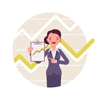 Geschäftsfrau mit zwischenablage. positive diagramme und grafiken