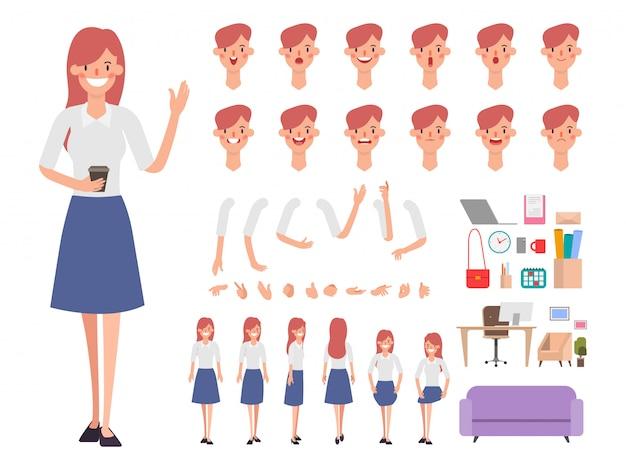 Geschäftsfrau oder sekretär bereit für animiertes.