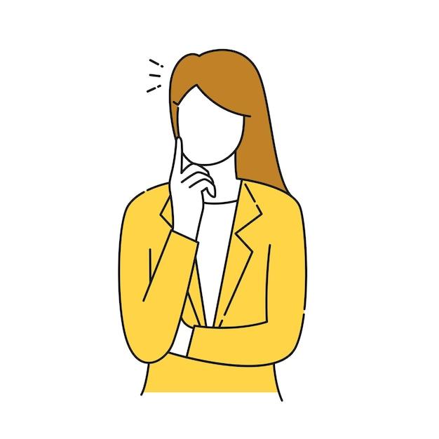 Geschäftsfrau ohne gesicht denkt an lösungen für unternehmen