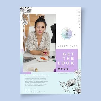 Geschäftsfrau plakatschablone mit foto