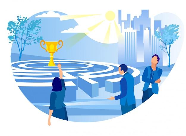 Geschäftsfrau point to cup standing im labyrinth.