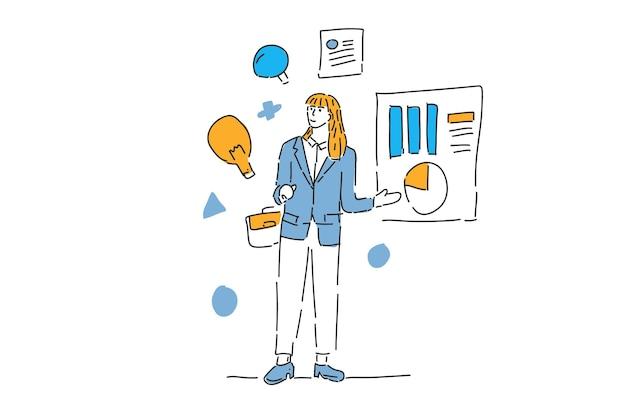 Geschäftsfrau präsentation finanzmanagement gezeichnete illustration