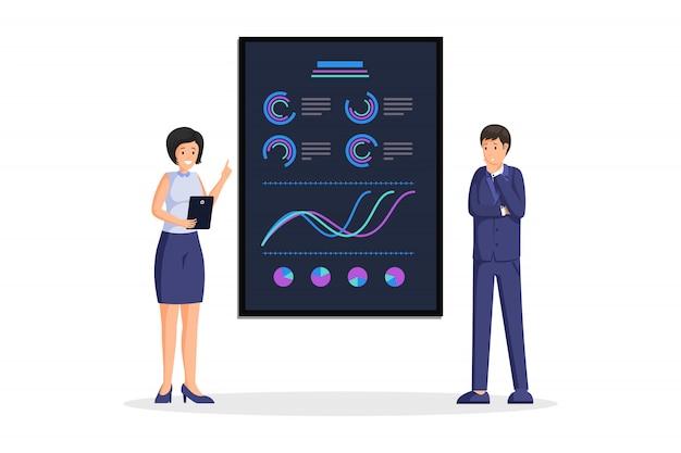 Geschäftsfrau präsentation illustration. datenanalyse und geschäftsstrategie. unternehmensbericht mit farbenfrohen aufsteigenden diagrammen, diagrammen, infografik und statistikinformationen