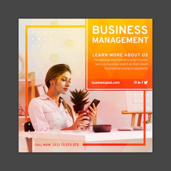 Geschäftsfrau quadratische flyer-vorlage