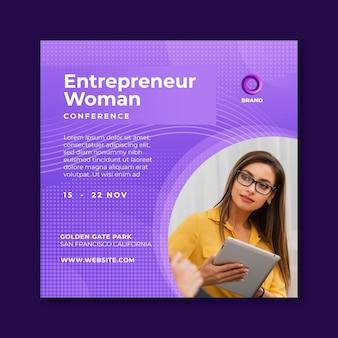 Geschäftsfrau quadratischer flyer