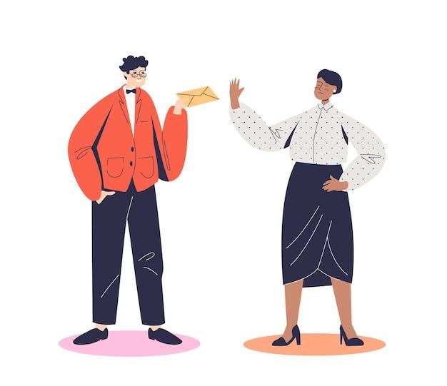 Geschäftsfrau, richterin oder lehrerin, die sich weigert, bestechungsgelder anzunehmen