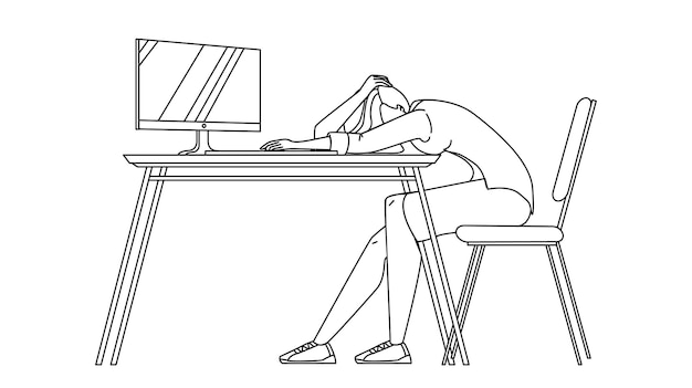 Geschäftsfrau schläft am schreibtisch im büro schwarze linie bleistiftzeichnung vektor. überarbeitete junge geschäftsfrau, die am schreibtisch schläft. charakter mädchen arbeiter ruht schlafend auf arbeitsplatz tisch illustration