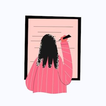 Geschäftsfrau schreibt auf eine tafelansicht von hinten