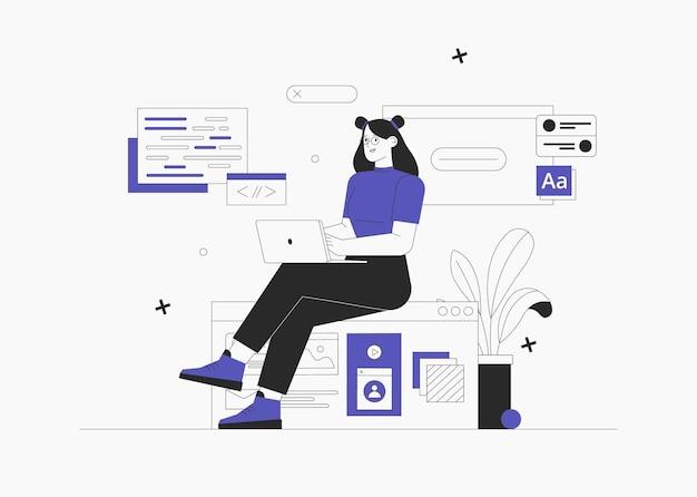 Geschäftsfrau sitzt auf infografik und arbeitet am laptop