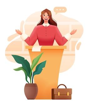 Geschäftsfrau-sprecher, der an der tribüne versandet. vektorillustration
