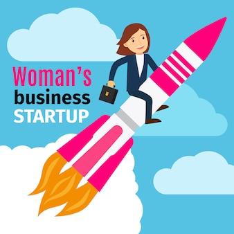 Geschäftsfrau start konzept illustration