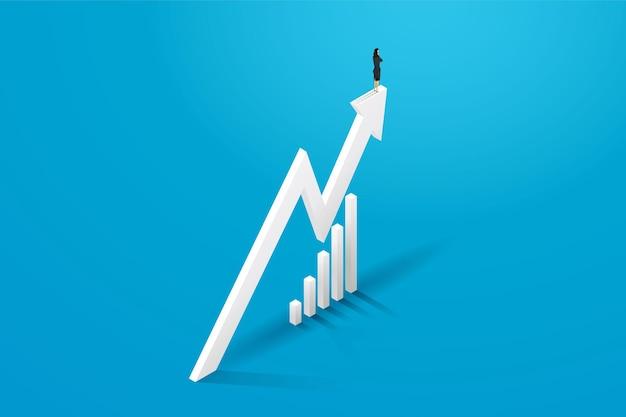 Geschäftsfrau steht auf diagrammpfeil und fortschrittswachstum geschäftskonzeptillustration vector