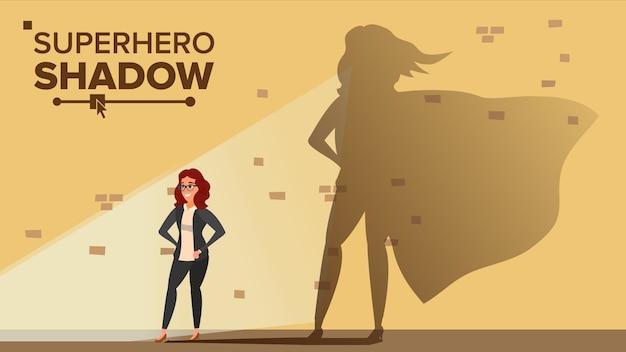 Geschäftsfrau-superheld-schatten