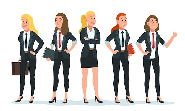 Geschäftsfrau-team. weibliche büroangestellte gruppieren sich in formeller kleidung mit notebook und aktentasche. kollegen finanzmeeting für mitarbeiter. erfolgreiche führungskräfte-vektor-illustration