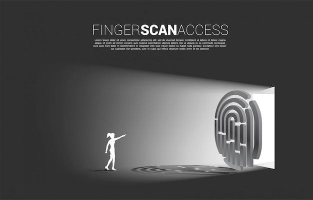 Geschäftsfrau-touch-fingerabdruck auf fingerscan-symbol, um auf das tor zuzugreifen