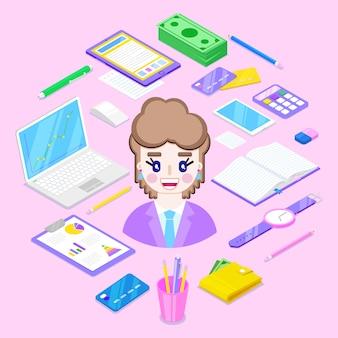 Geschäftsfrau und büro stationär