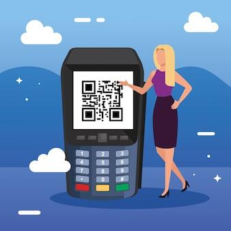 Geschäftsfrau und datentelefon mit scan-code qr