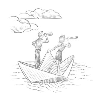 Geschäftsfrau und geschäftsmann mit teleskopen, die auf papierboot segeln. zukünftige karrierevision und führungskritzeleienkonzept