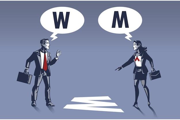 Geschäftsfrau und geschäftsmann sehen objekt aus unterschiedlicher perspektive