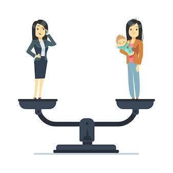 Geschäftsfrau und glückliches frauenkind auf skalen. vereinbarkeit von beruf und familie