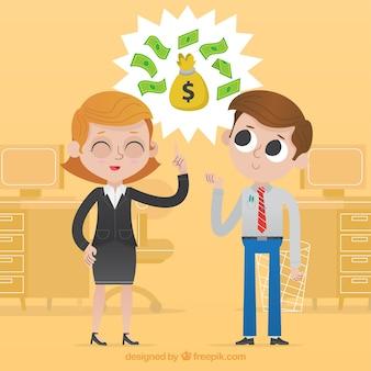 Geschäftsfrau und kollege sprechen über geld