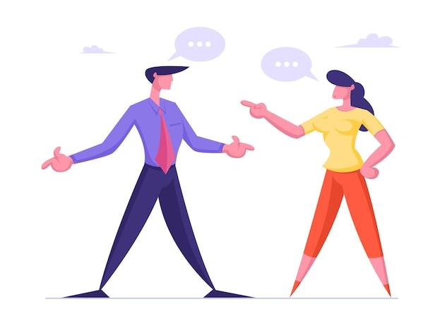 Geschäftsfrau und -mann, die mit sprachblasen streiten und streiten