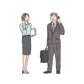 Geschäftsfrau und mann im strengen anzug, die am telefon sprechen. illustration im strichkunststil lokalisiert auf weiß