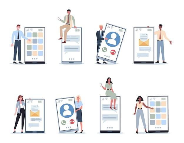 Geschäftsfrau und -mann mit handyset. sammlung von weiblichen und männlichen büroangestellten im anzug mit smartphone.