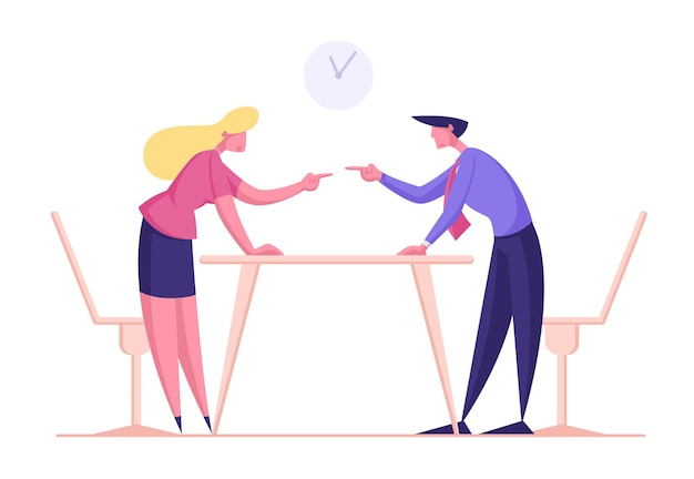 Geschäftsfrau und mann streiten und kämpfen