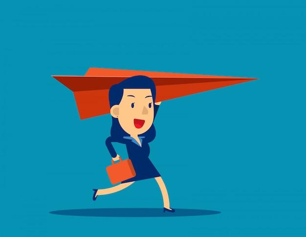 Geschäftsfrau und papierflugzeug
