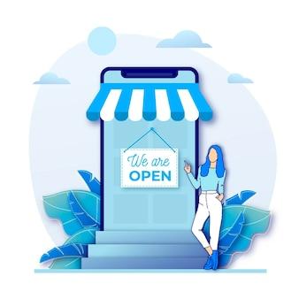 Geschäftsfrau und wiedereröffneter laden