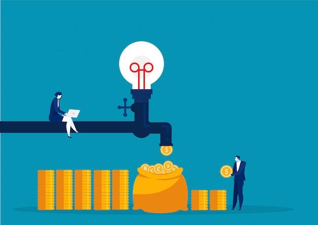 Geschäftsfrau verdiente geld, das aus dem passiven einkommenskonzept des wasserhahns herausfällt. illustration