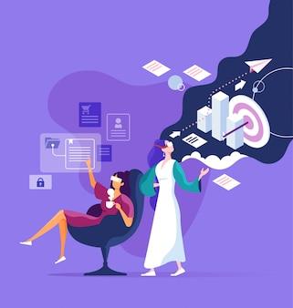 Geschäftsfrau verwenden virtual reality digital-technologie