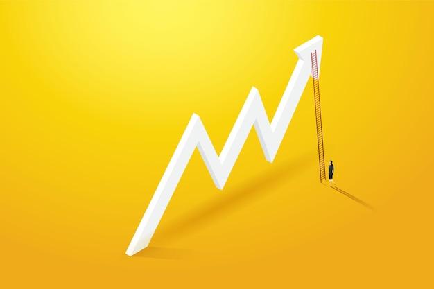 Geschäftsfrau vision kletterleiter durch auf diagrammwachstum geschäftskonzept illustration vektor