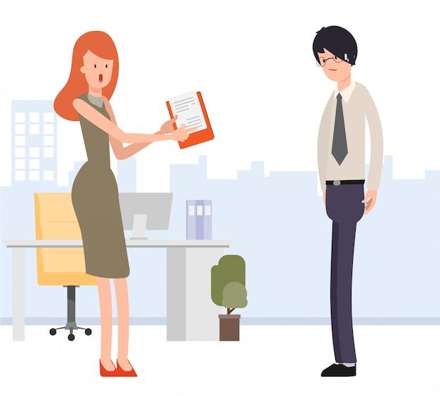 Geschäftsfrau weisen dem geschäftsmann den job zu.