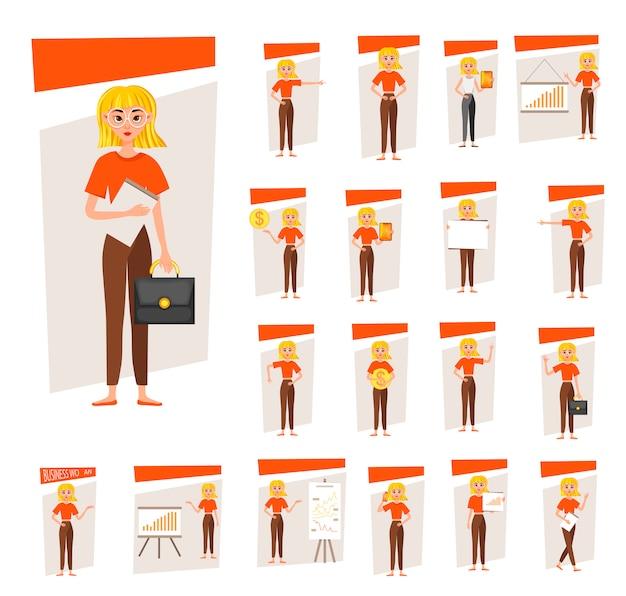 Geschäftsfrau working character design set. das mädchen zeigt auf der entwicklungstabelle. 12 wirft vektorabbildung auf.