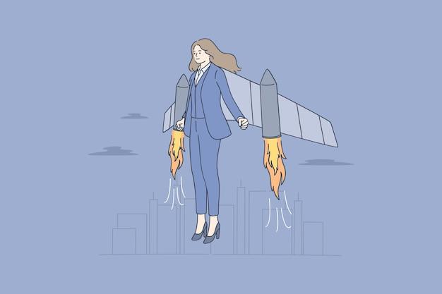 Geschäftsfrau zeichentrickfigur mit jetpack