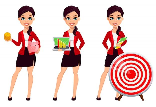 Geschäftsfrau zeichentrickfigur. überzeugter junger manager, der bitcoins und sparschwein hält, laptop hält und nahes ziel steht
