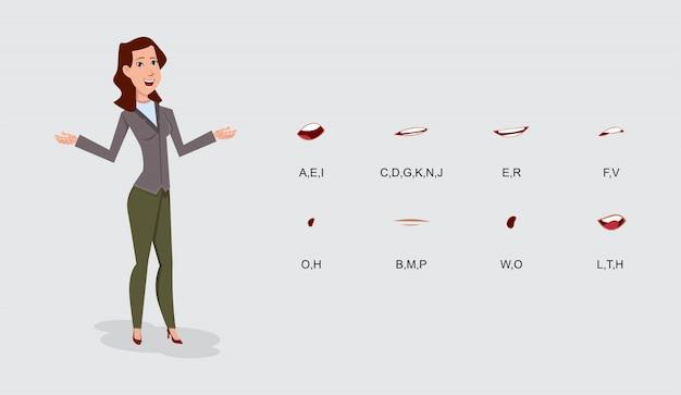 Geschäftsfrau-zeichentrickfilm-figur-lippensynchronisierungssatz