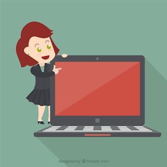 Geschäftsfrau zeigt auf dem bildschirm