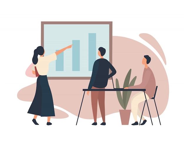 Geschäftsfrau zeigt kollegen diagramm. illustration