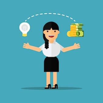 Geschäftsfrauänderungsideen in geld