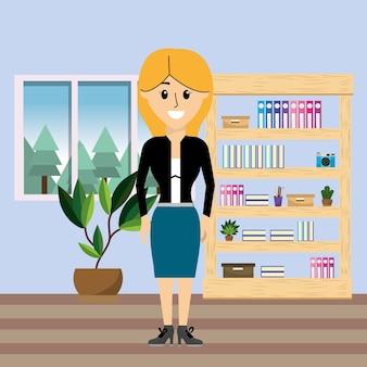 Geschäftsfrauarbeitskraft im büro